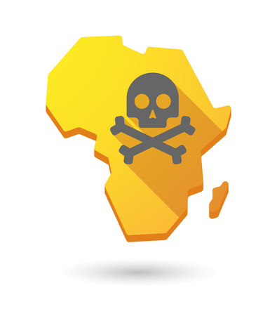 Isolated Africa continent map icon with a skull Vector
