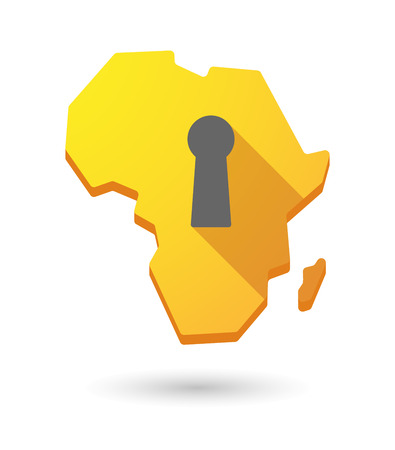 key hole: Isolated Africa continent map icon with a key hole Illustration