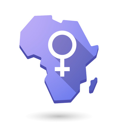 andropause: Isolated Africa continent map icon with a female sign Illustration