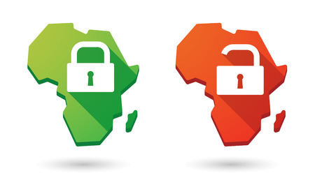Isolated Africa continent map icon set