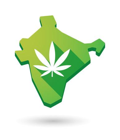 ganja: Illustration d'une ic�ne de carte Inde avec une feuille de marijuana