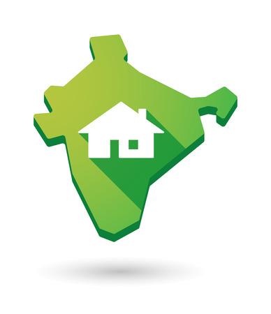 investment real state: Ilustraci�n de un icono en el Mapa de la India con una casa