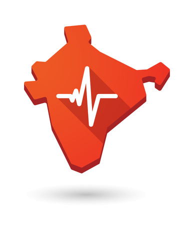 beat: Illustration of an India map icon with a  heart beat sign