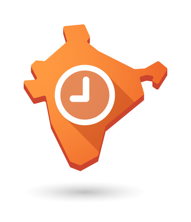 Illustration of an India map icon with a  clock Vector