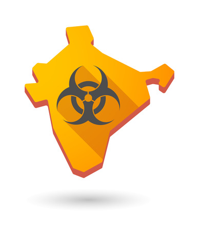biohazard: Illustration of an India map icon with a  biohazard sign