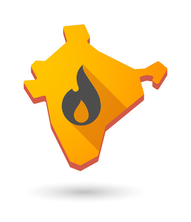 Illustration of an India map icon with a  flame