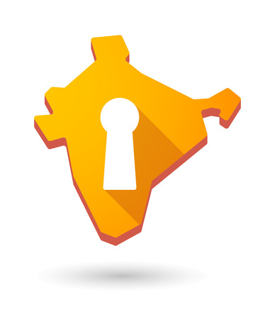 key hole: Illustration of an India map icon with a  key hole