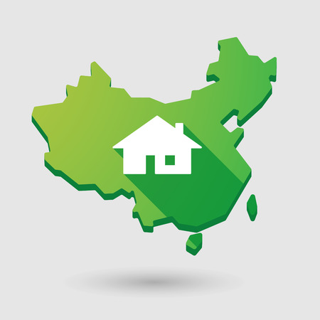 property of china: Illustration of a China map icon with a house