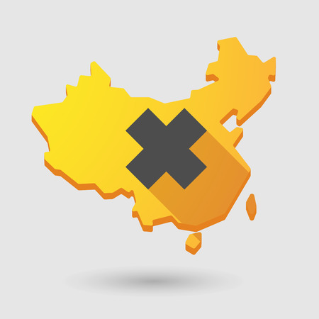 harmful to the environment: Illustration of a China map icon with an irritating substance sign