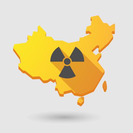 radiactividad: Ilustraci�n de un icono de mapa de China con un signo de la radiactividad Vectores