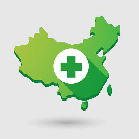 pharmacy sign: Illustration of a China map icon with a pharmacy sign