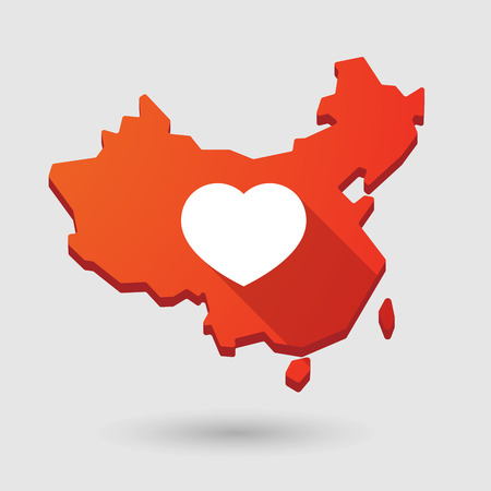 seduction: Illustration of a China map icon with a heart Illustration