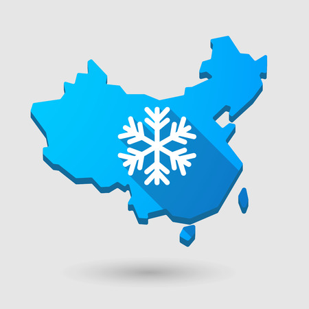 snow flake: Illustration of a China map icon with a snow flake