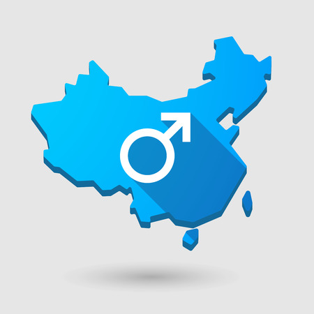 chinese sex: Illustration of a China map icon with a male sign Illustration