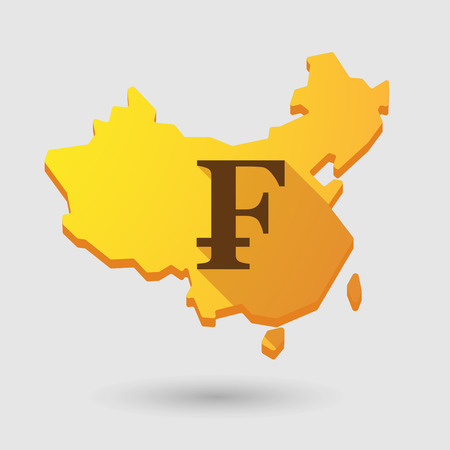 Illustration of a China map icon with a currency sign Vector