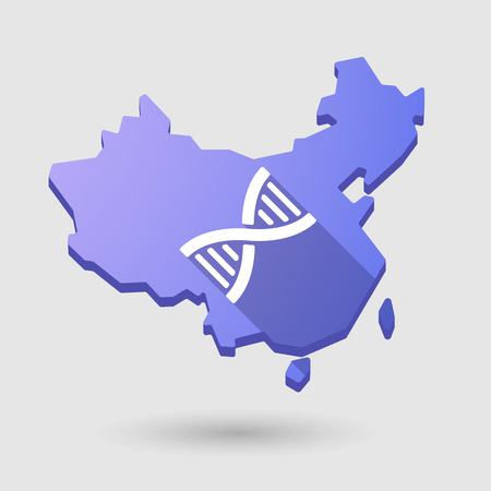 transgenic: Illustration of a China map icon with a DNA sign