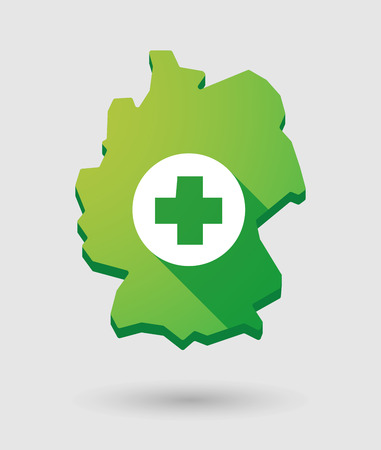 pharmacy sign: Illustration of a Germany map icon with a pharmacy sign