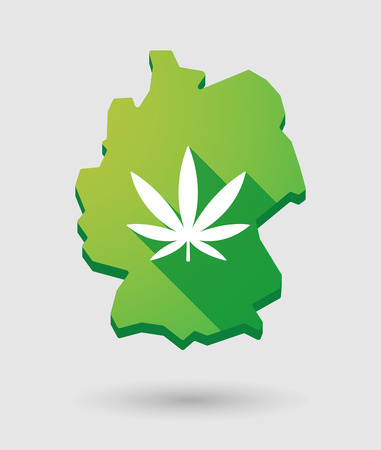 Illustration of a Germany map icon with a marijuana leaf Vector