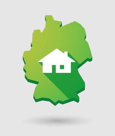 investment real state: Ilustraci�n de un icono de mapa de Alemania con una casa
