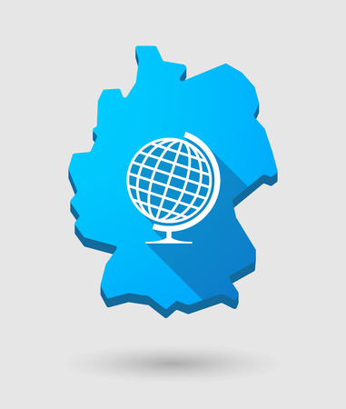 Illustration of a Germany map icon with a world globe Vector