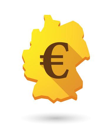 deutschland karte: Illustration einer Deutschland-Kartensymbol mit einem W�hrungssymbol
