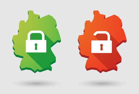 Illustration of a Germany map  lock pad icon set Vector