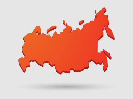 federation: Illustration of an isolated red Russia map icon