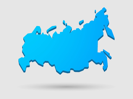 federation: Illustration of an isolated blue Russia map icon