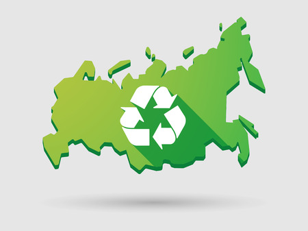 federation: Illustration of an isolated Russia map icon with a recycle sign Illustration