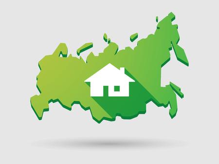 investment real state: Ilustraci�n de un mapa de Rusia icono aislado con una casa