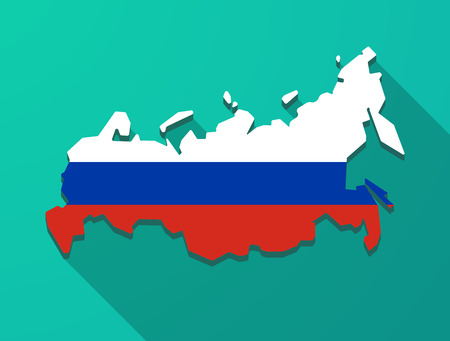 federation: Illustration of a long shadow Russia map Illustration