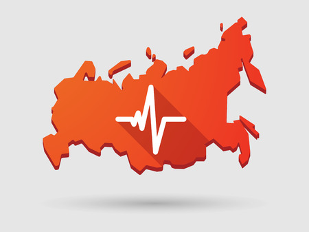 Isolated Russia map longn shadow icon with a heart beat icon Vector