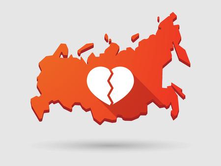 russland karte: Isolierte Russland Karte longn Schatten Symbol mit Herz Illustration