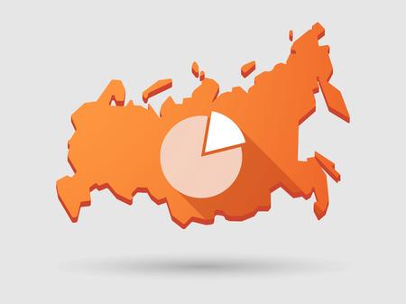 russland karte: Isolierte Russland Karte longn Schatten Symbol mit einem Kreisdiagramm