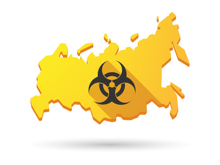riesgo biologico: Aislado Rusia icono sombra mapa longn con una se�al de peligro biol�gico