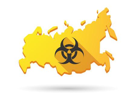 biohazard: Isol� ic�ne ombre carte longn la Russie avec un signe de danger biologique
