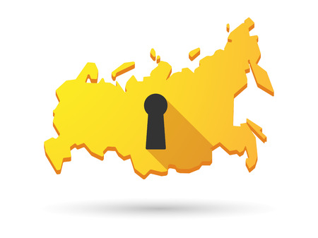 key hole: Isolated Russia map longn shadow icon with a key hole