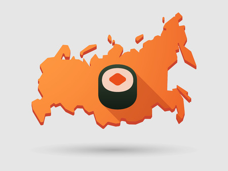 russian cuisine: Isolated Russia map longn shadow icon with a sushi