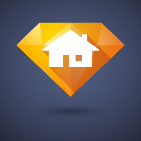 investment real state: Ilustraci�n de un icono de diamante con una casa