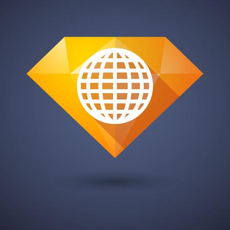 flat globe: Illustration of a diamond icon with a world globe
