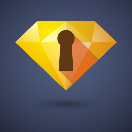 key hole: Illustration of a diamond icon with a key hole Illustration