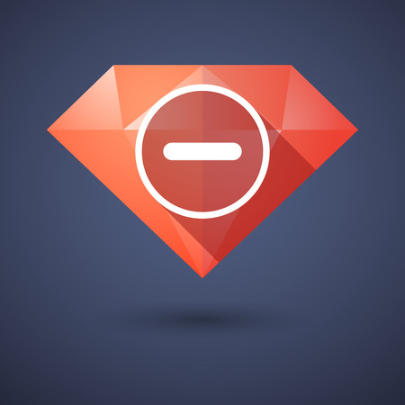subtraction: Illustration of a diamond icon with a subtraction sign Illustration