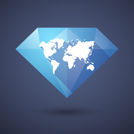 geography map: Illustration of a diamond icon with a world map