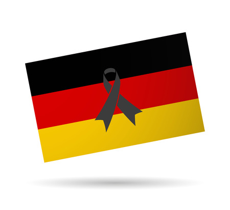 Illustration of a Germany flag with a black ribbon Vector