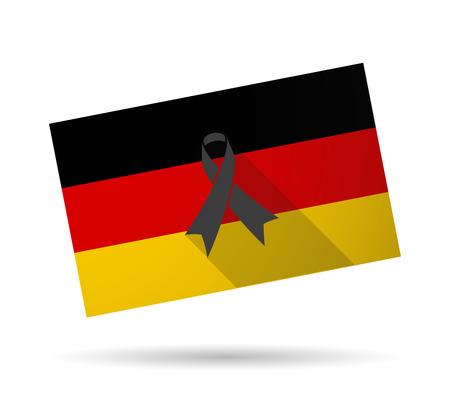 melanoma: Illustration of a Germany long shadow flag with a black ribbon