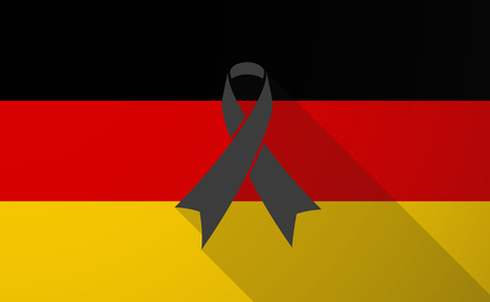 Illustration of a Germany long shadow flag with a black ribbon Vector