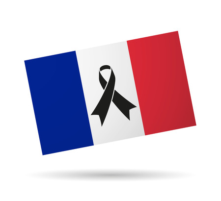 Illustration of a France flag with a black ribbon Vector