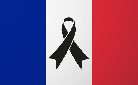 social awareness symbol: Illustration of a France flag with a black ribbon Illustration