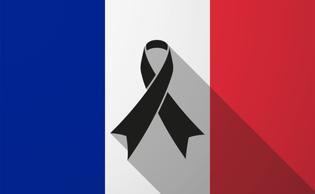 Illustration of a France long shadow flag with a black ribbon Vector