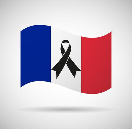Illustration of a France flag with a black ribbon Illustration